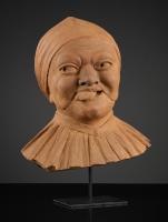 Vlaamse Terracotta Buste van een Vrouw met Schandmasker