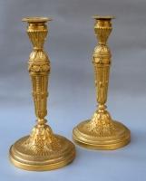 Pair neoclassical ormolu flambeaux