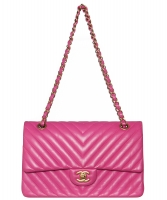 Chanel Pink Quilted Chevron Leather Classic Medium Double Flap Bag