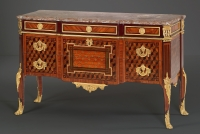 Royal French Louis XVI Parquetry Commode, stamped: Mewesen