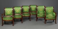 French Empire Suite of four Fauteuils and two Bergères, attributed to F.H.G. Jacob-Desmalter