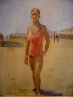 Lady on the beach, Viareggio Italy