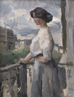 Elegant Lady on a balcony,  Rue Clignancourt Paris