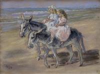 Riding the donkeys along the beach, Scheveningen -Holland