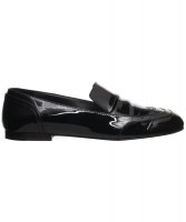 Chanel Zwarte Lakleren Oxford Loafers