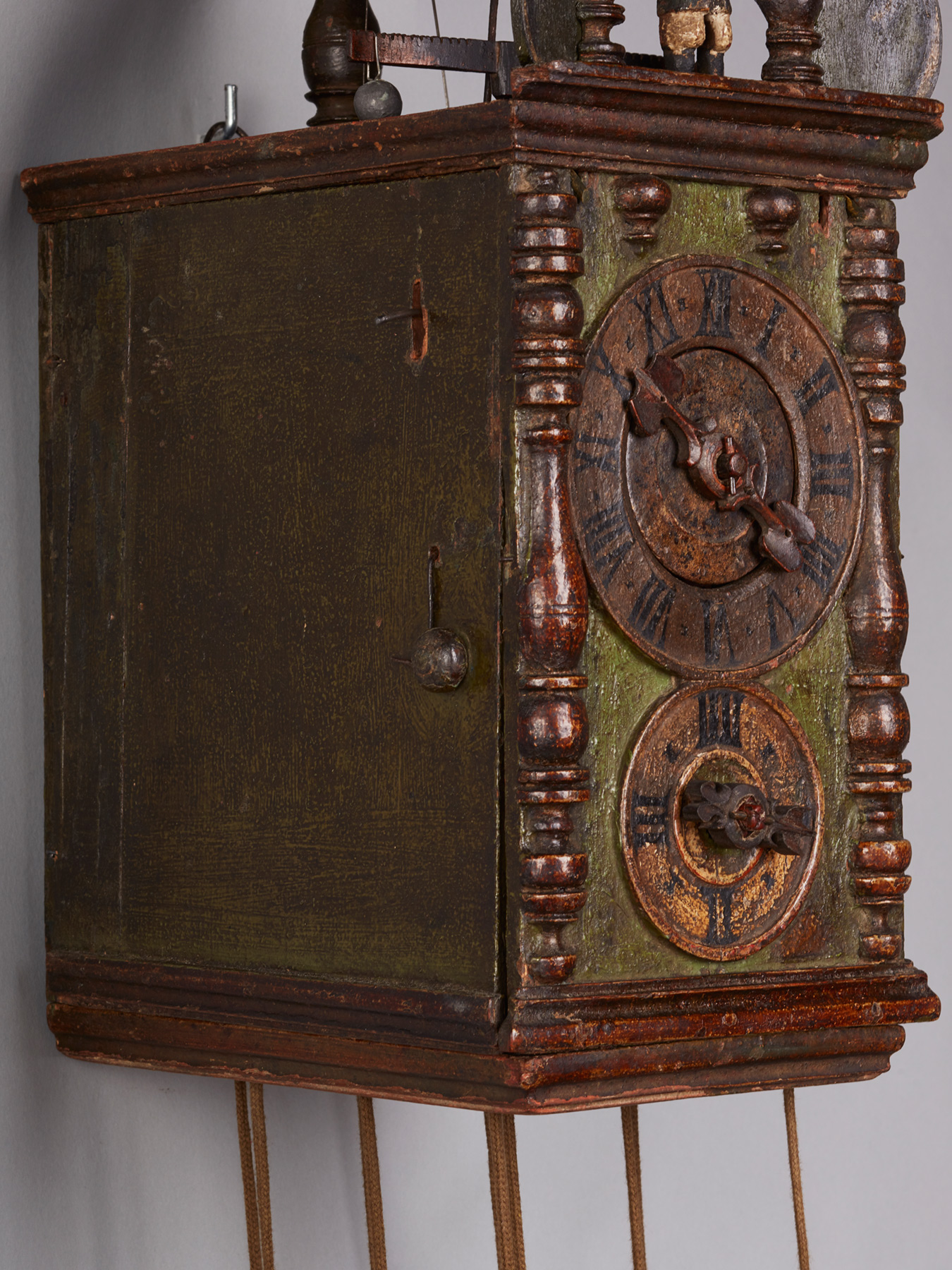 An Exceptional Austrian Wooden Animated Wall Clock Circa