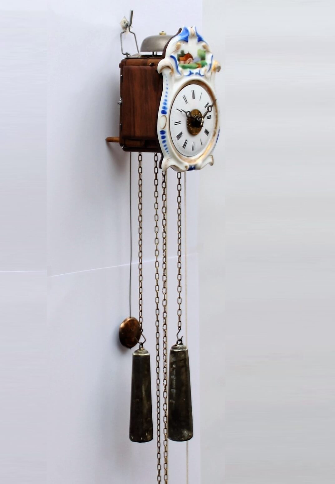 A Small German Jockele Wall Clock With Alarm Circa 1860