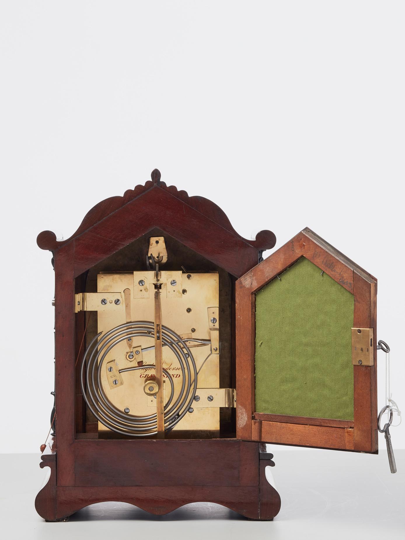 A Beautiful Small English Mahogany 8 Day Bracket Clock By