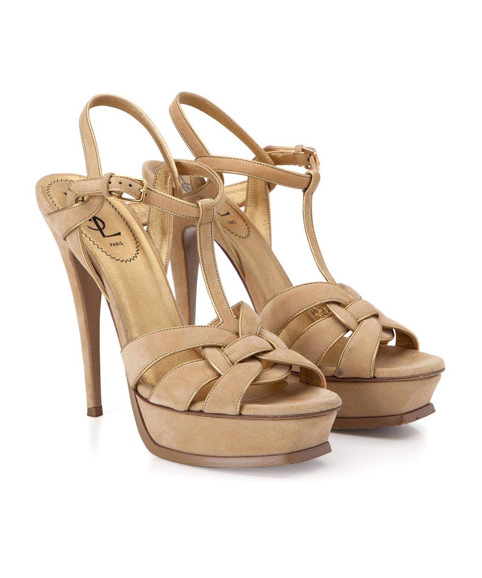 6b6e061d21 Yves Saint Laurent Nude Suede 'Tribute' Sandals   La Doyenne