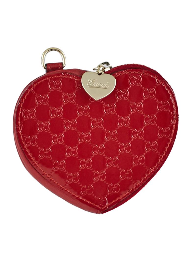 1f982a04e22 Gucci Red Microguccissima Patent Leather Heart Coin Purse