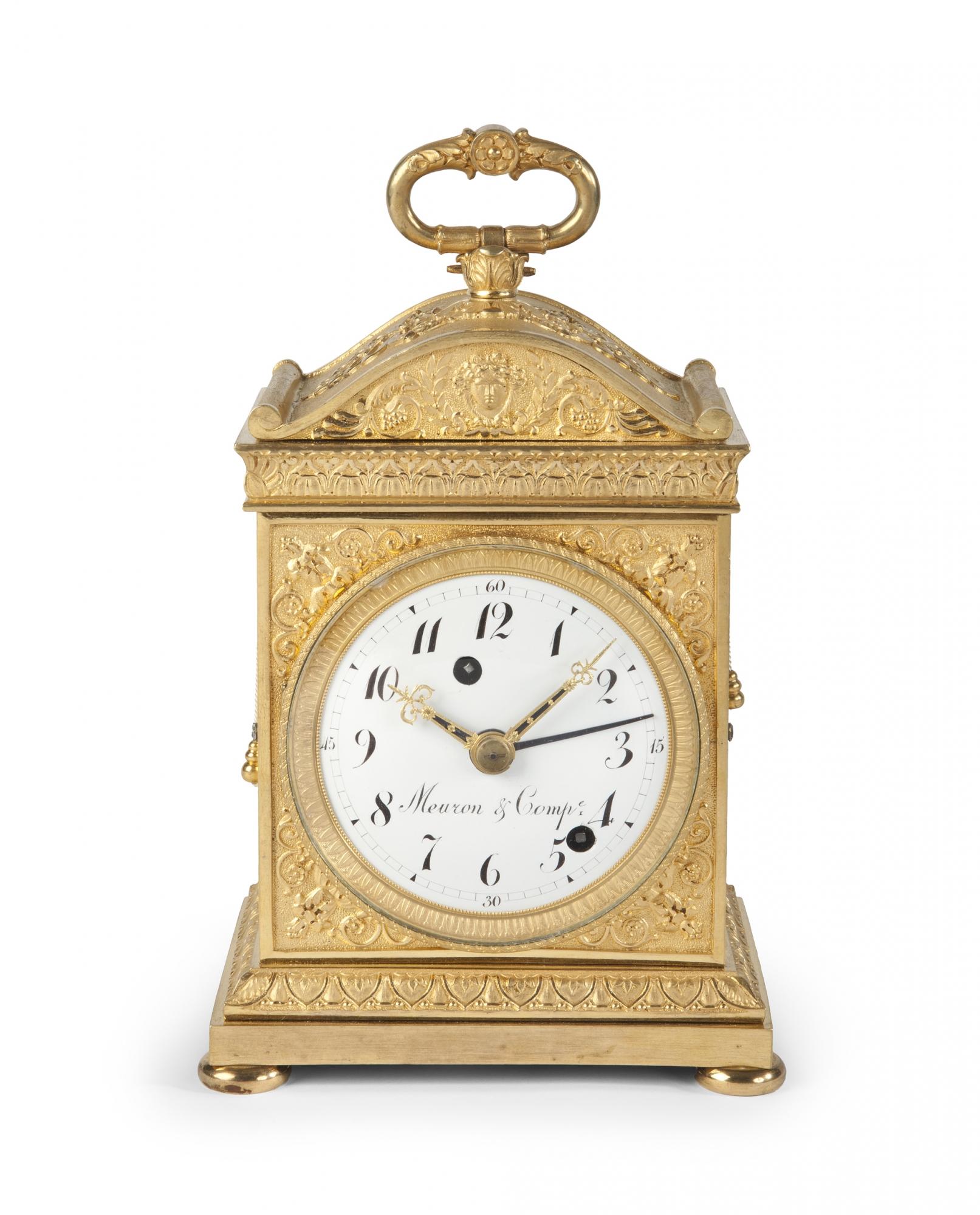 a swiss ormolu 39 pendule d 39 officier 39 with grande sonnerie by meuron compagnie circa 1810. Black Bedroom Furniture Sets. Home Design Ideas