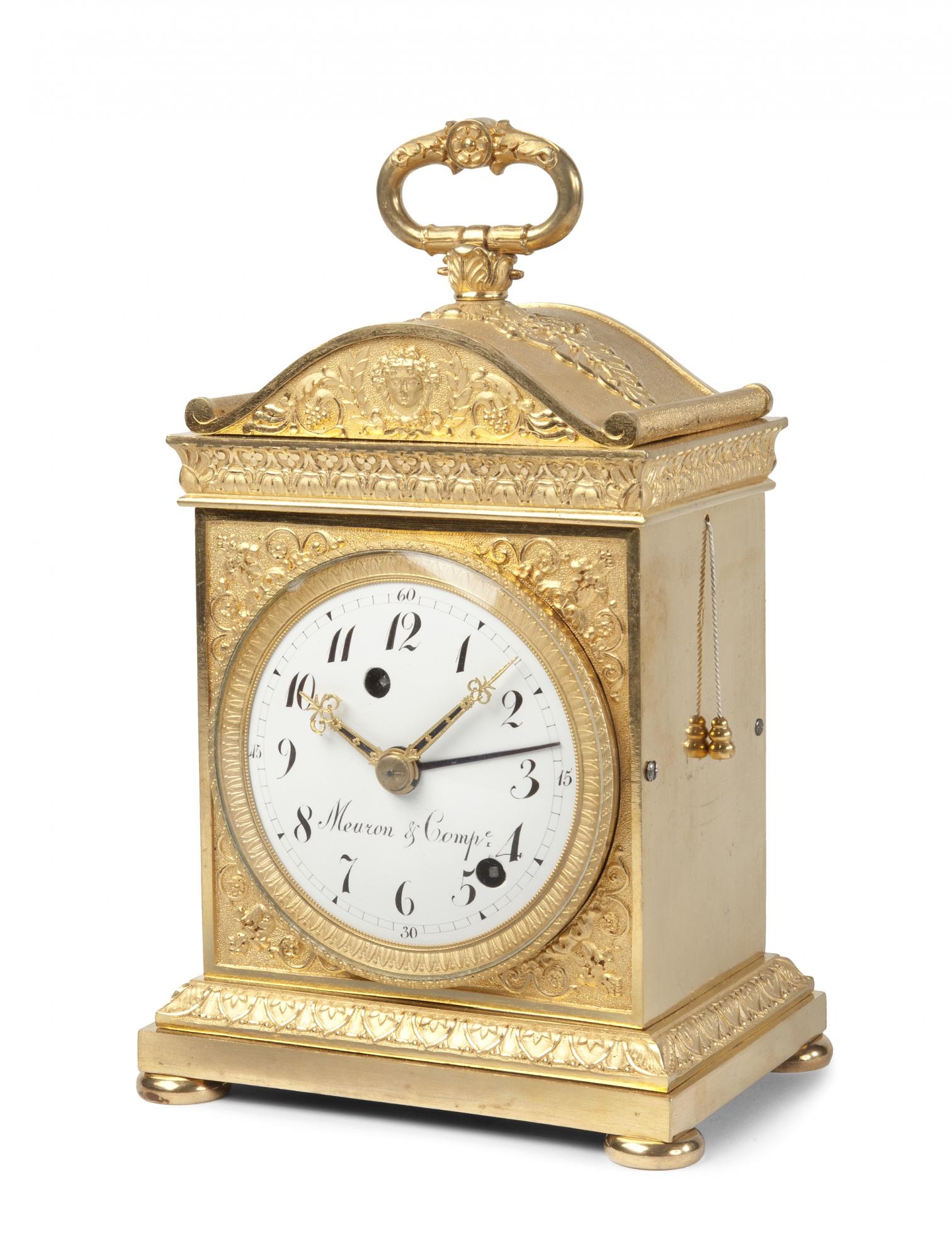 een zwitserse verguld bronzen 39 pendule d 39 officier 39 met grande sonnerie door meuron compagnie. Black Bedroom Furniture Sets. Home Design Ideas