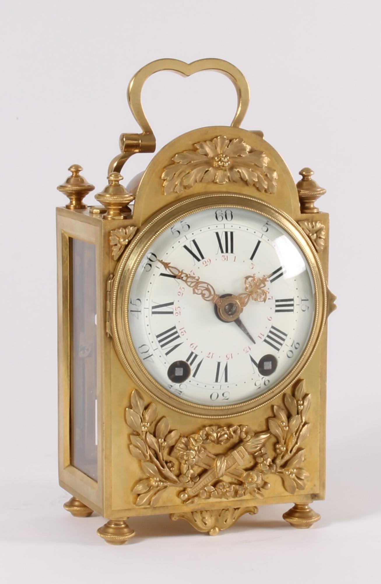 an attractive french louis xvi style brass 39 pendule d 39 officier 39 by e bazart circa 1890 toebosch. Black Bedroom Furniture Sets. Home Design Ideas