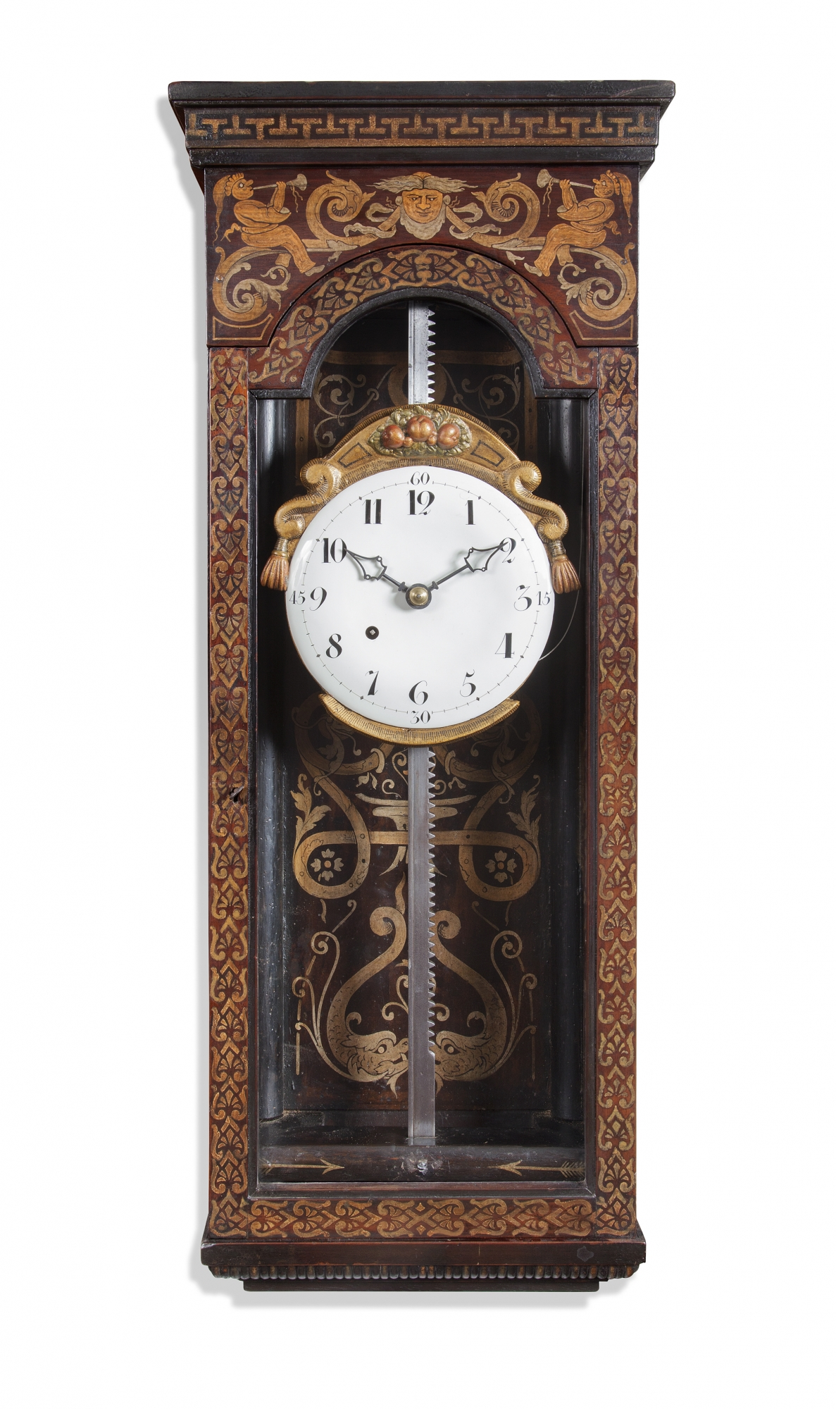 A rare and decorative mid european painted wood striking rack wall a rare and decorative mid european painted wood striking rack wall clock amipublicfo Image collections