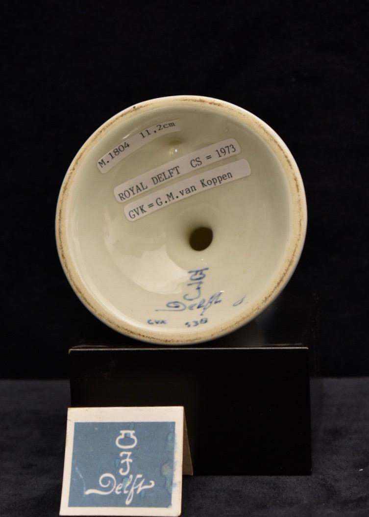 Handpainted Delft Blue candle holder 1973 De Porceleyne Fles Royal Delft