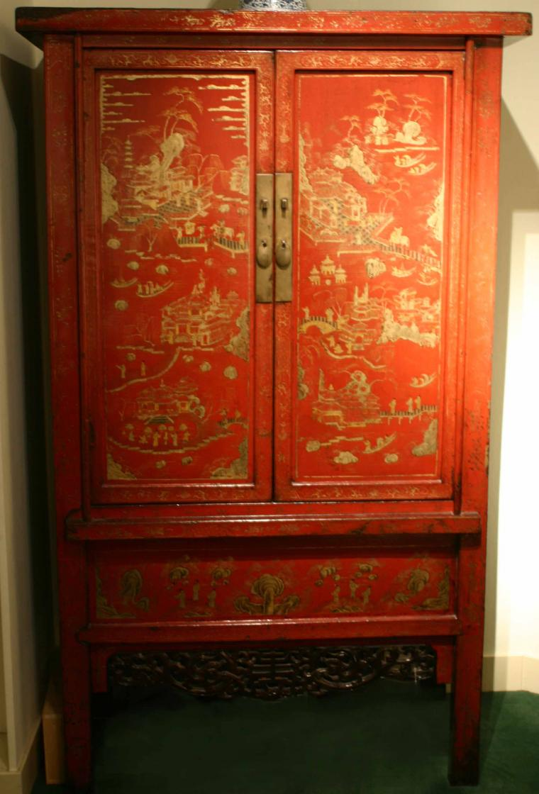 A pair of red lacquer cabinets antique chinese furniture for Oriental furniture