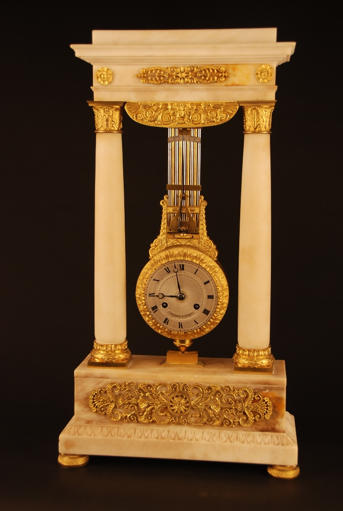 M86 French Marble And Ormolu Swinging Portico Clock