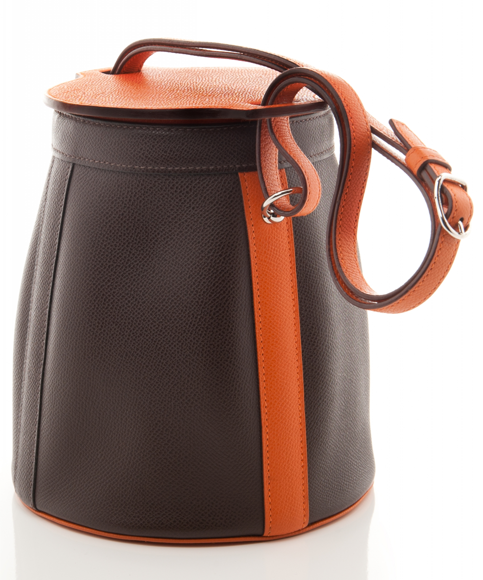 Herm 232 S Brown Orange Leather Farming Bag La Doyenne