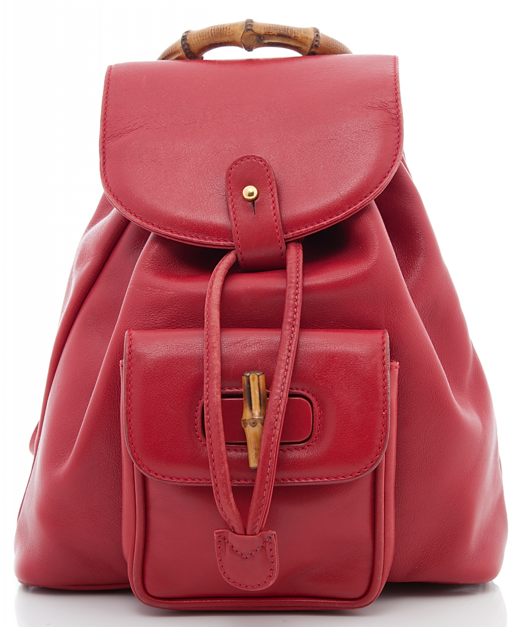Gucci Red Leather Drawstring Bamboo Handle Backpack