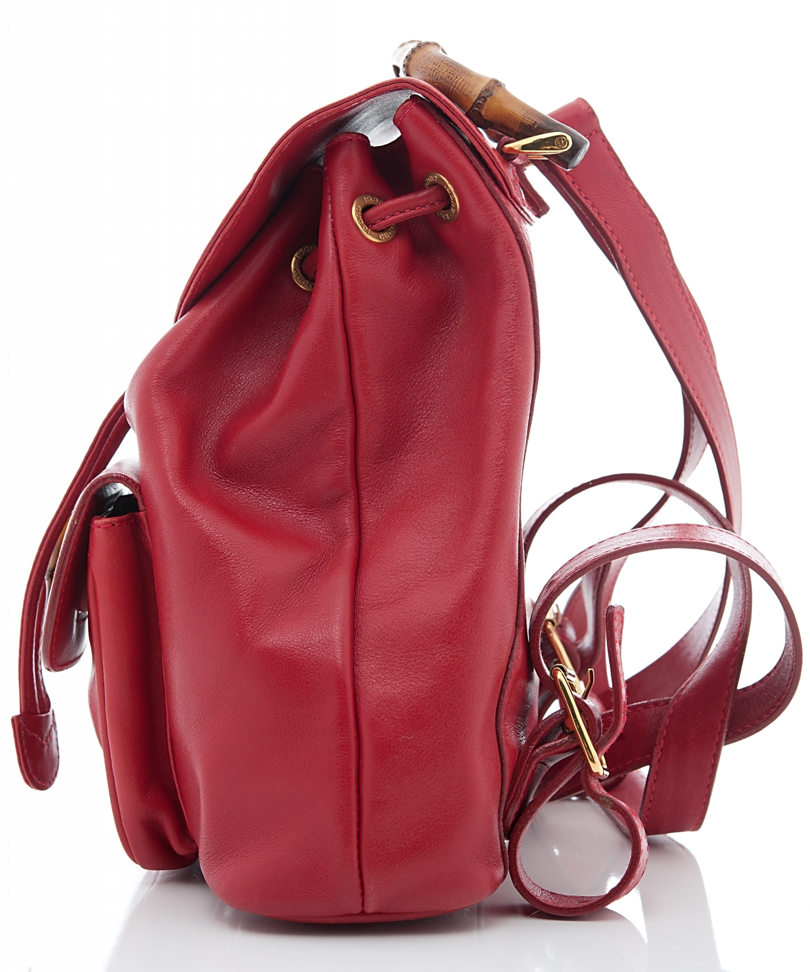 Gucci Red Leather Drawstring Bamboo Handle Backpack La