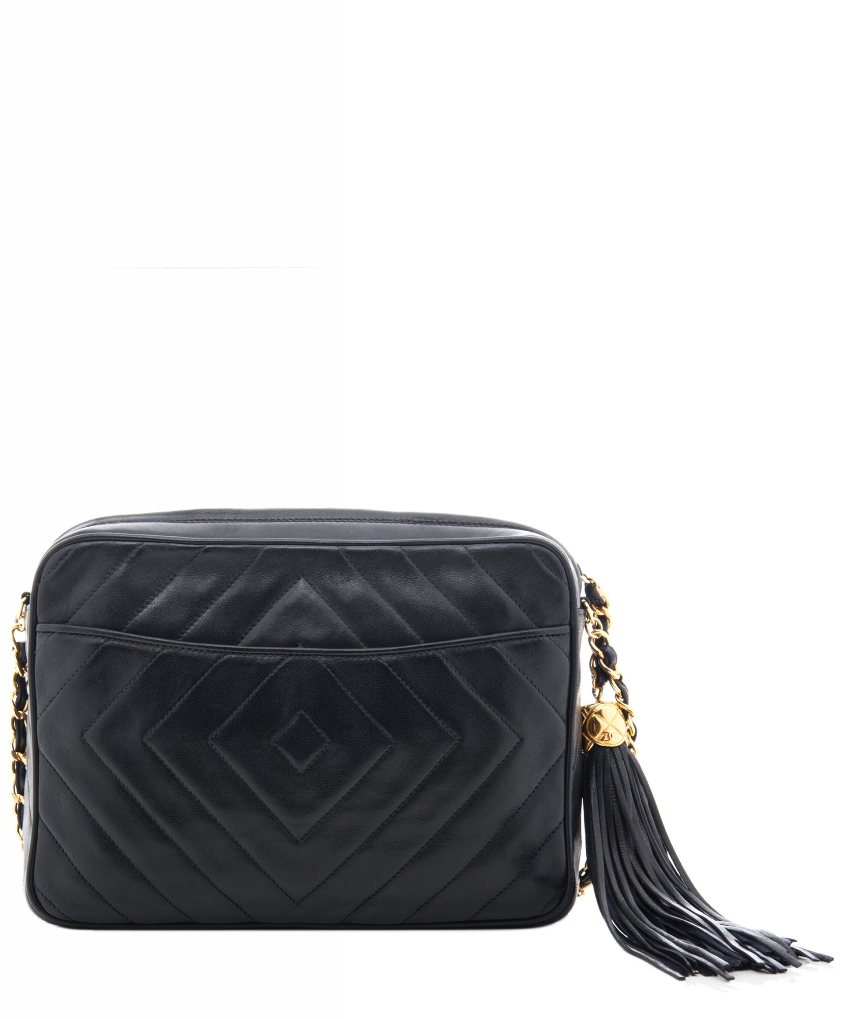 dbe9b3449da6 ... Shoulder Bags; Chanel 'Camera Bag' in Black Chevron Quilted Leather  Tassel. Touch to zoom