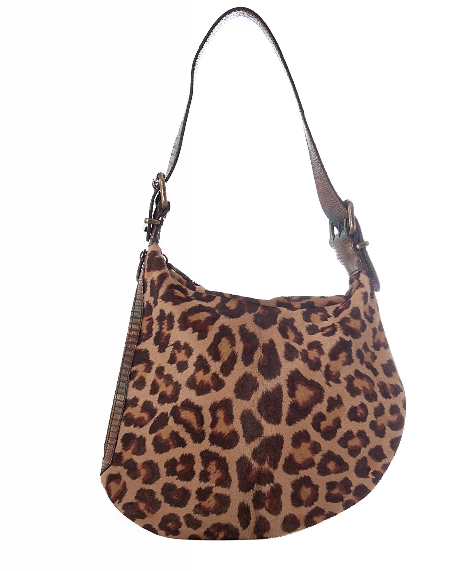 0301170e55d5 Fendi Leopard Zucca Oyster Hobo Shoulder Bag