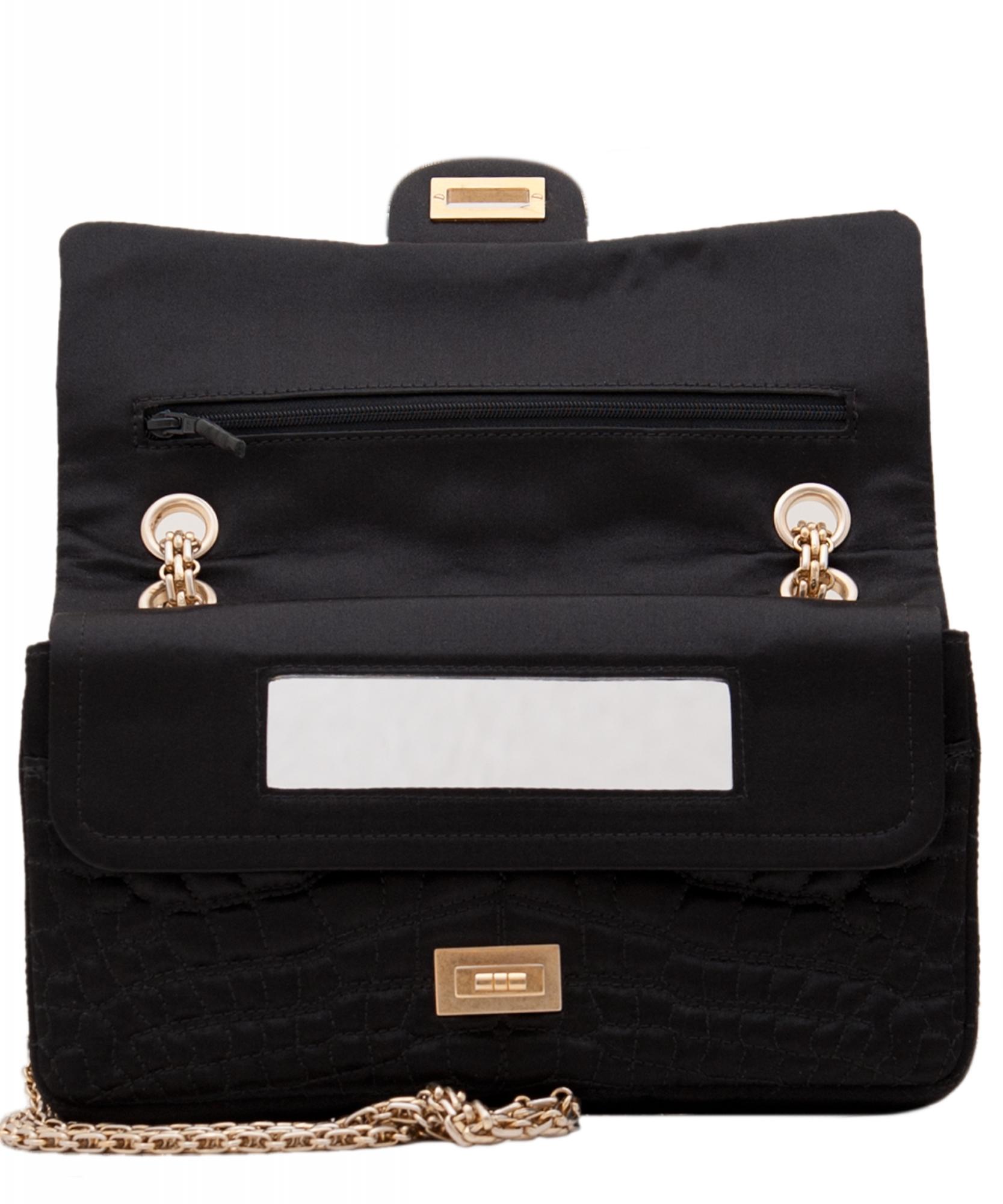 2dfb9d64cc2e ... Shoulder Bags; Chanel Black Satin Croc Embossed 2.55 Reissue Flap Bag.  Touch to zoom