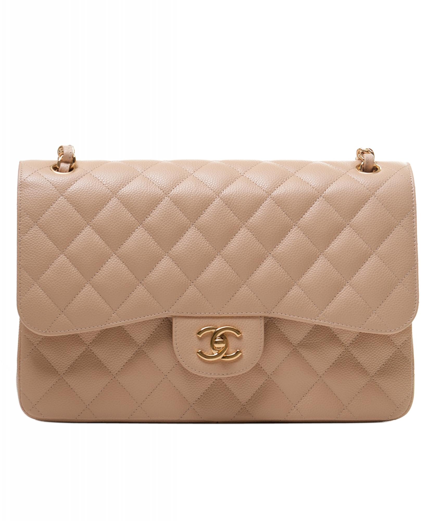 04ca57c37e71f3 Chanel Jumbo Beige Caviar 2.55 Classic Flap Bag | La Doyenne