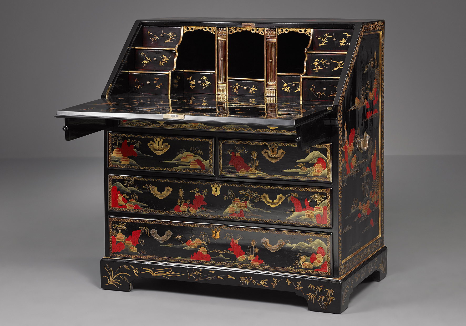 chinese export lacquer bureau kollenburg antiquairs. Black Bedroom Furniture Sets. Home Design Ideas