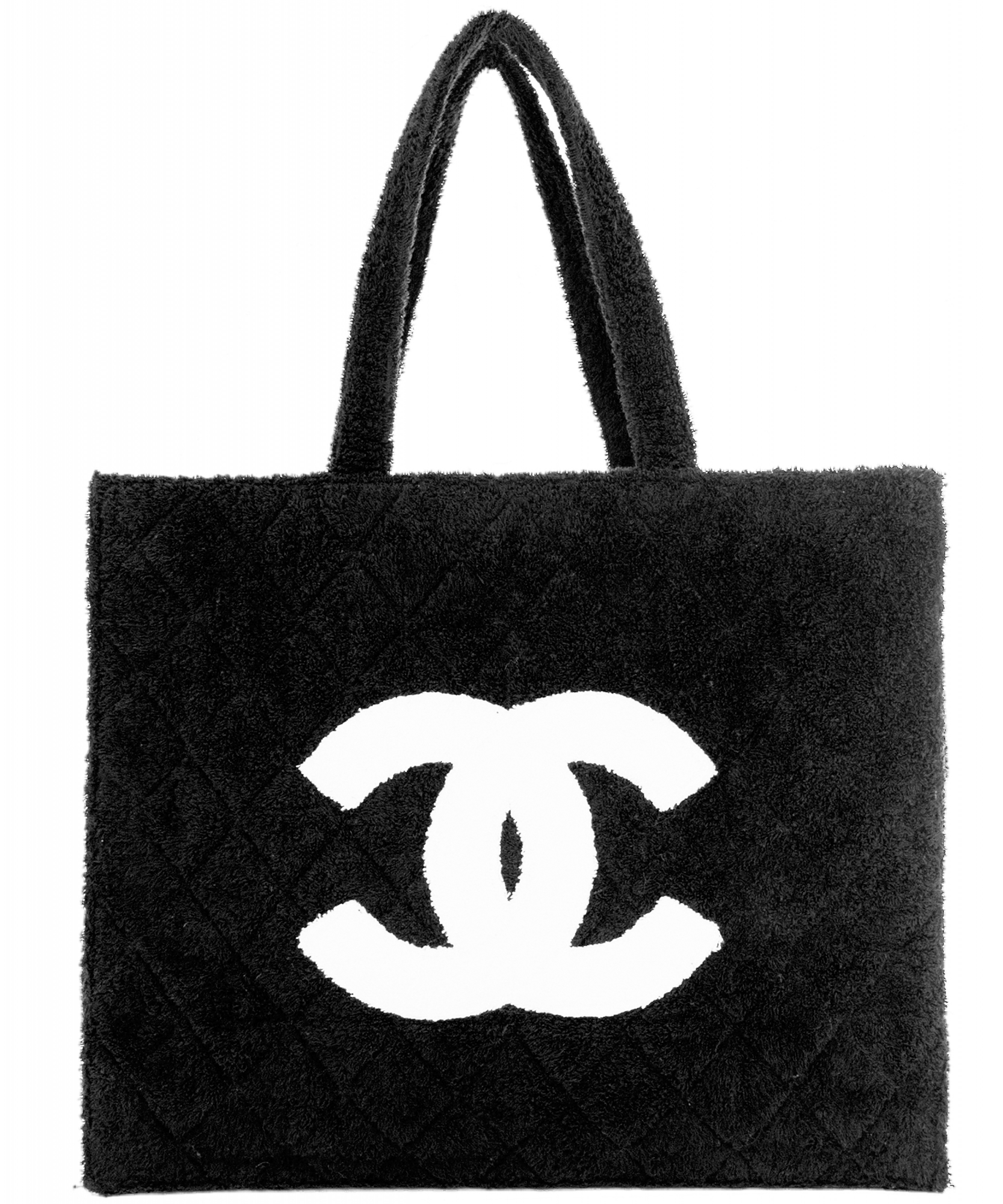 7a02dd48e975 Chanel Black Quilted Terry Cloth Tote | La Doyenne
