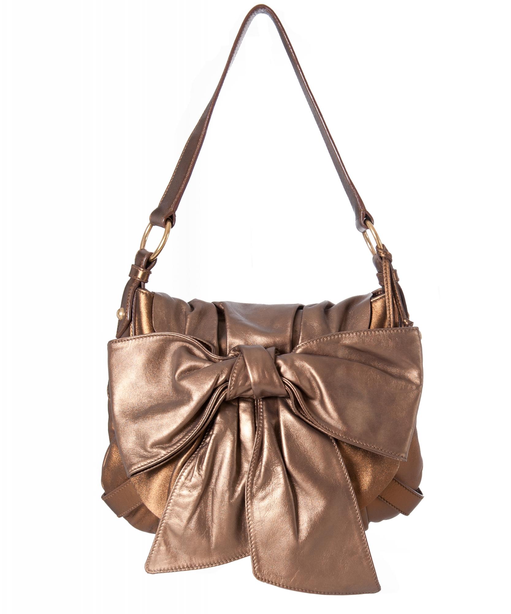 f3a88098bd Yves Saint Laurent Metallic Bronze Bow Shoulder Bag ...