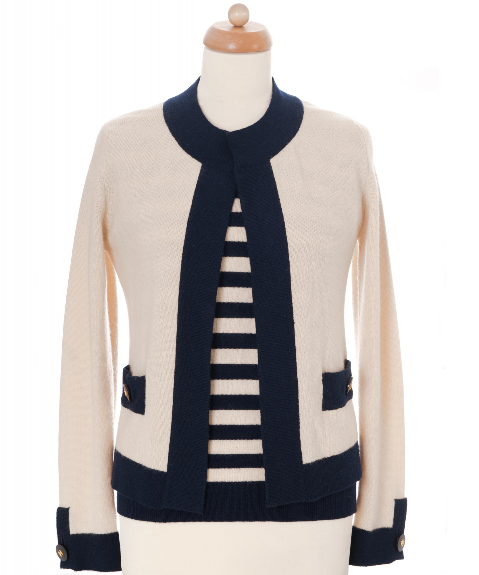 Chanel Cashmere Striped Twinset 97C ...
