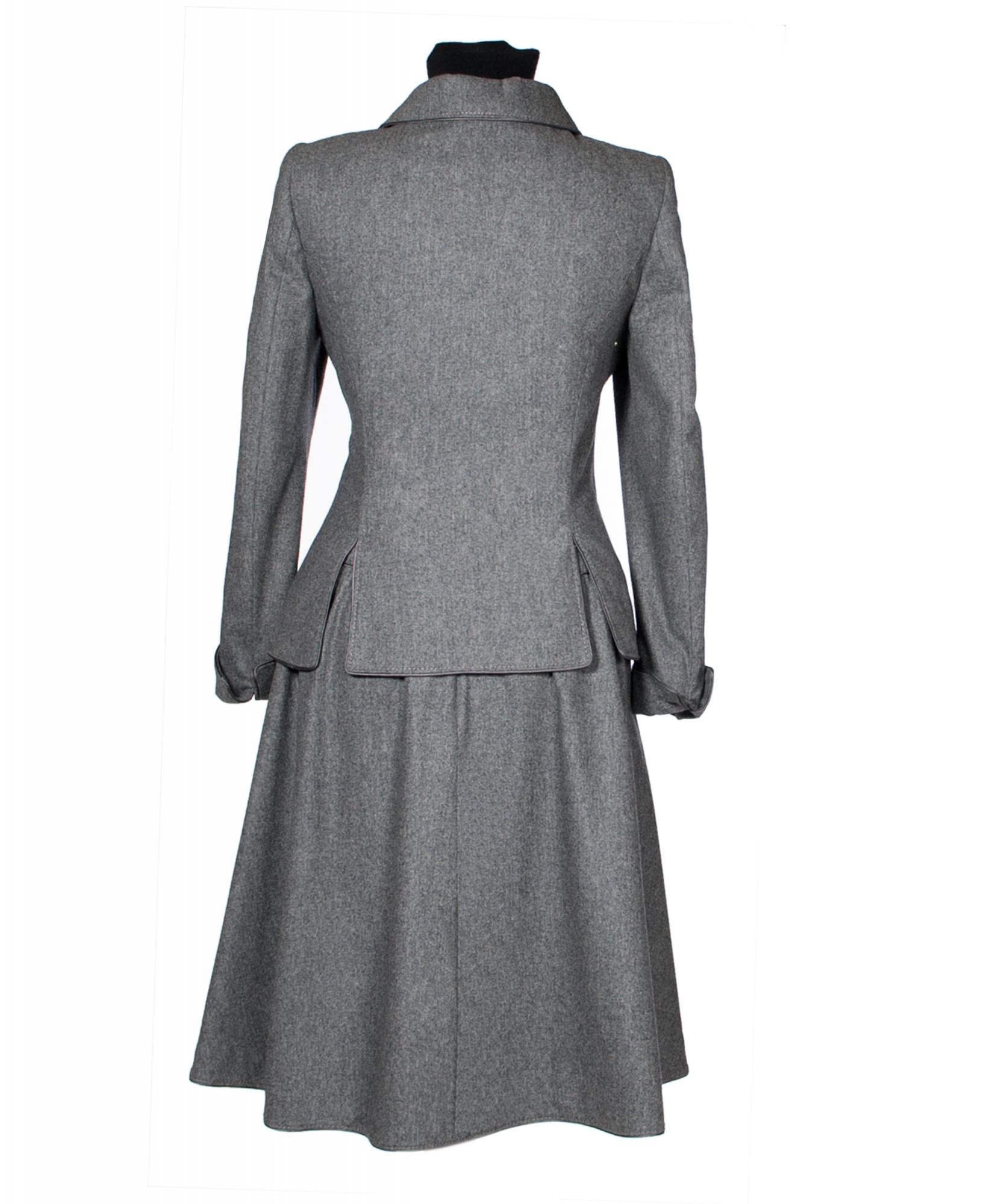 Frans Molenaar Grey Wool Flared Skirt Suit | ArtListings