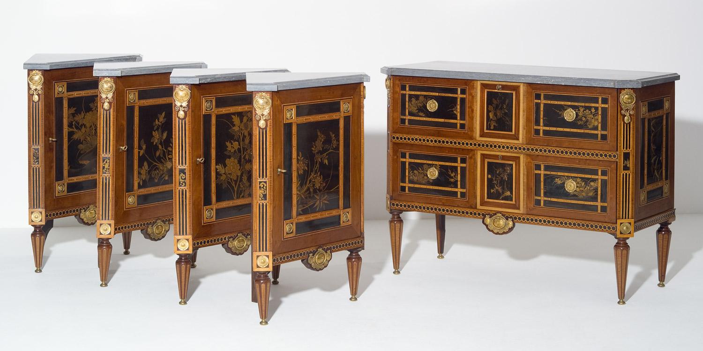 commode et quatre encoignures hollandais d 39 epoque louis xvi kollenburg antiquairs. Black Bedroom Furniture Sets. Home Design Ideas