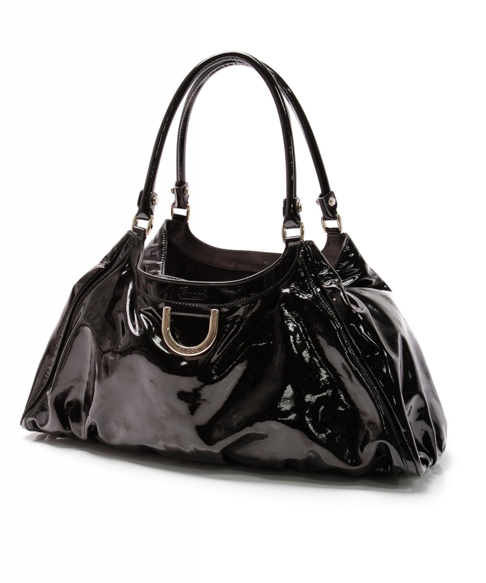 ede50f93a916 Gucci Black Patent Leather D Ring Hobo Bag | La Doyenne