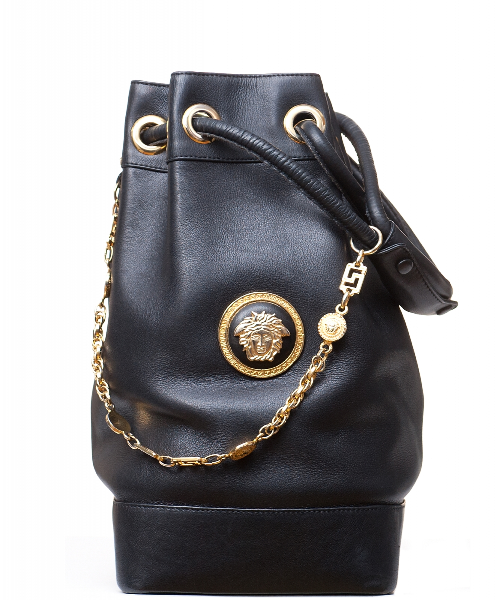 9b31b2268064f ... Gianni Versace Couture Black Leather Medusa Drawstring Bag. Tap to  expand