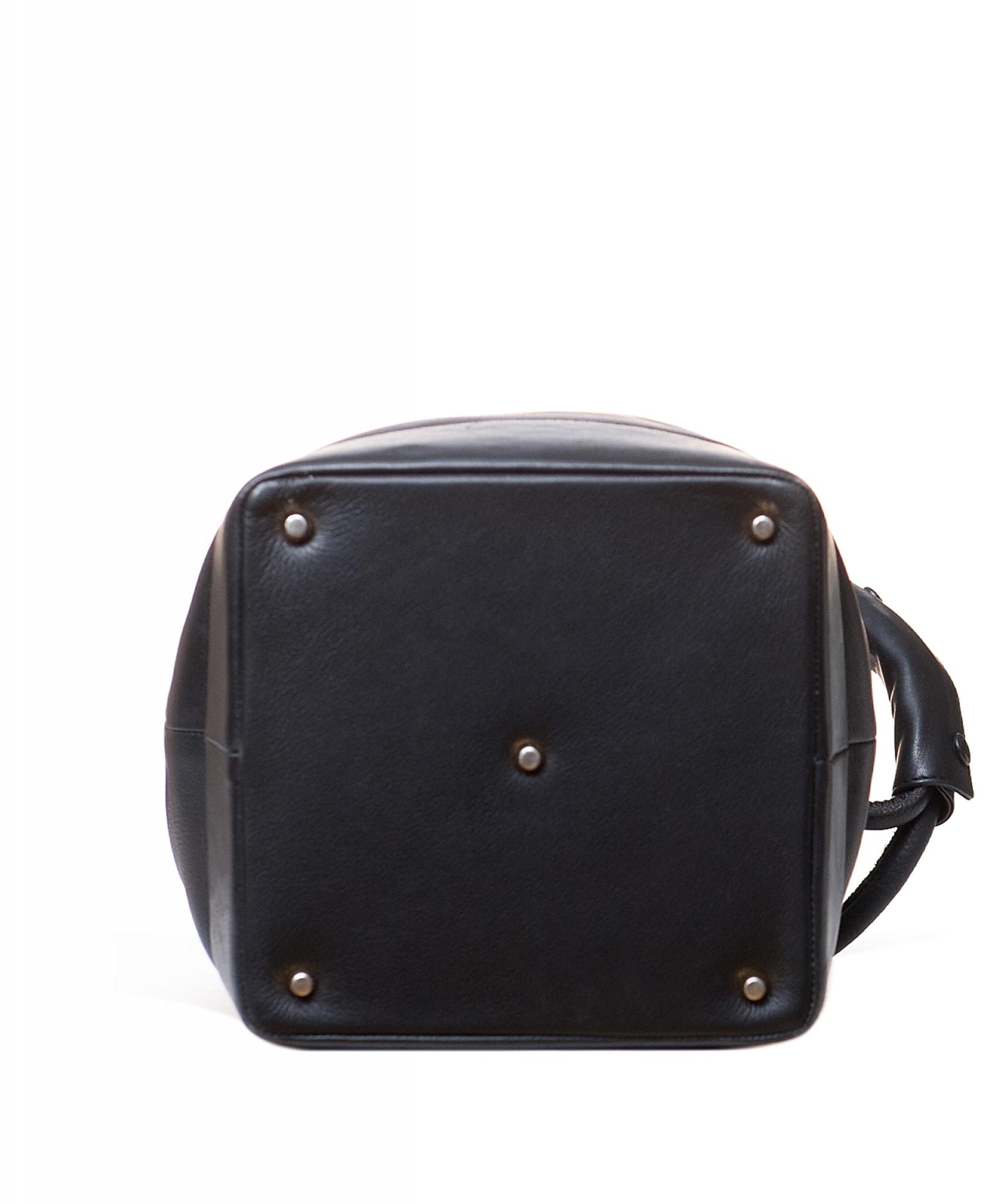 3b66360ab1 Gianni Versace Couture Black Leather Medusa Drawstring Bag   La Doyenne