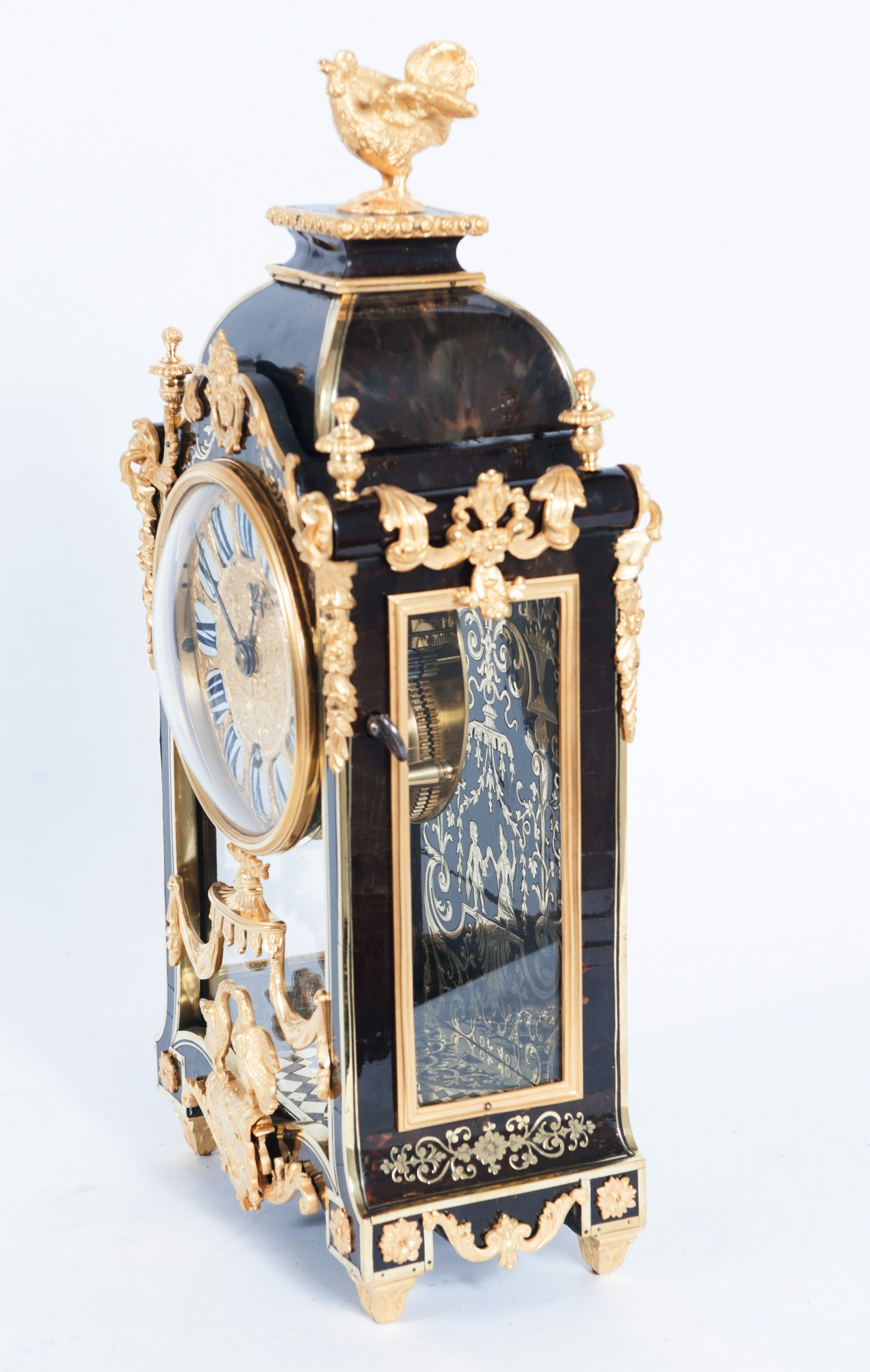 Small Decorative Louis Xiv Boulle Inlaid Bracket Clock