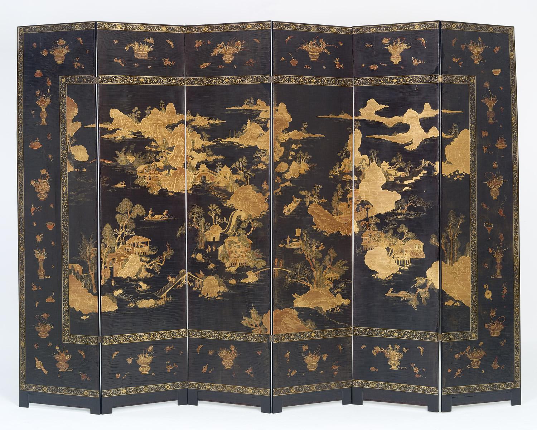 kamerscherm van japans lakwerk kollenburg antiquairs. Black Bedroom Furniture Sets. Home Design Ideas