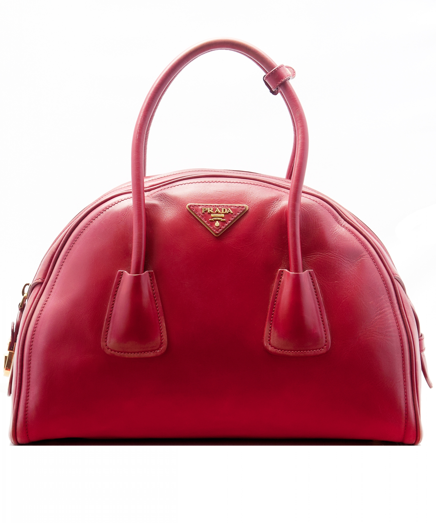 ee1fdf40fa0248 Tap to expand · Prada Red Leather Vitello Vintage Bowler Bag ...