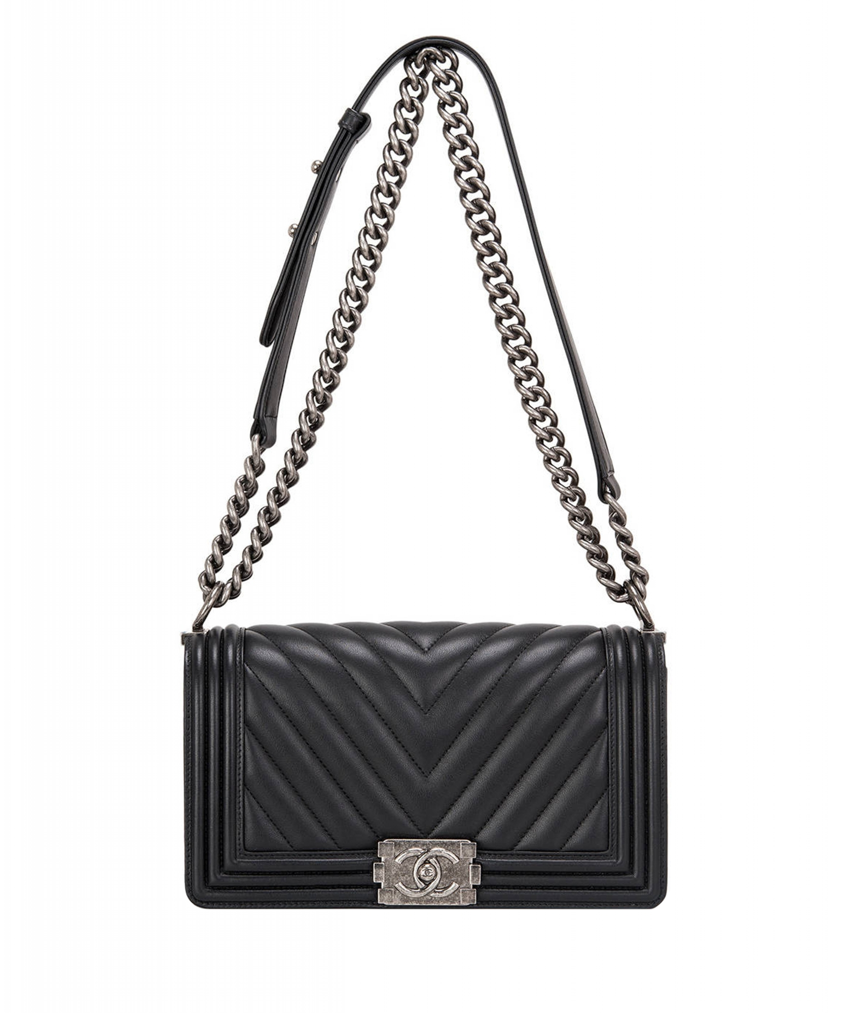 45763da706a6 Chanel Black Chevron Quilted Boy Bag New Medium