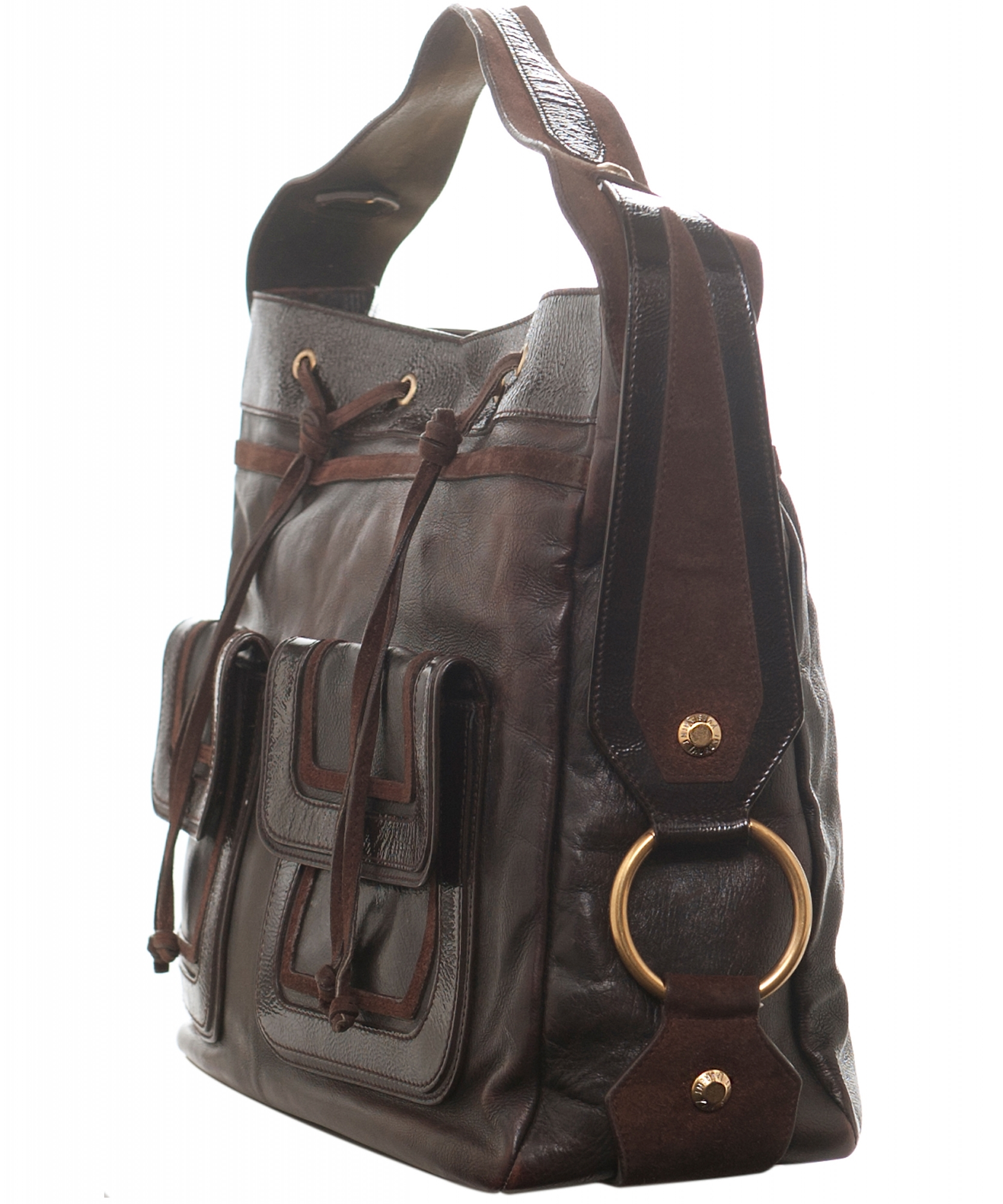 ba1d33428e2d ... Yves Saint Laurent  Rive Gauche  Brown Leather Shoulder Bag. Tap to  expand