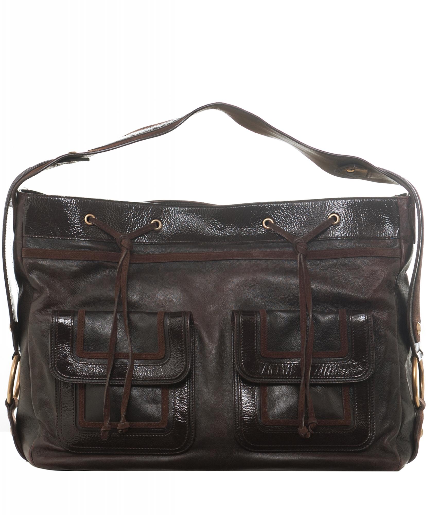 8c1ea90976 Yves Saint Laurent 'Rive Gauche' Brown Leather Shoulder Bag | La Doyenne