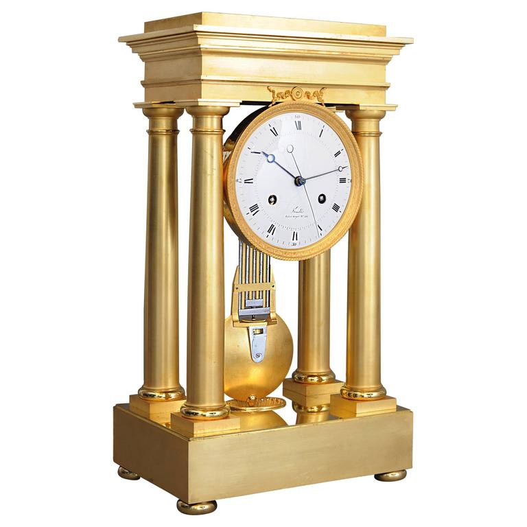 High Quality Early Empire Four Pillar Mantel Clock By