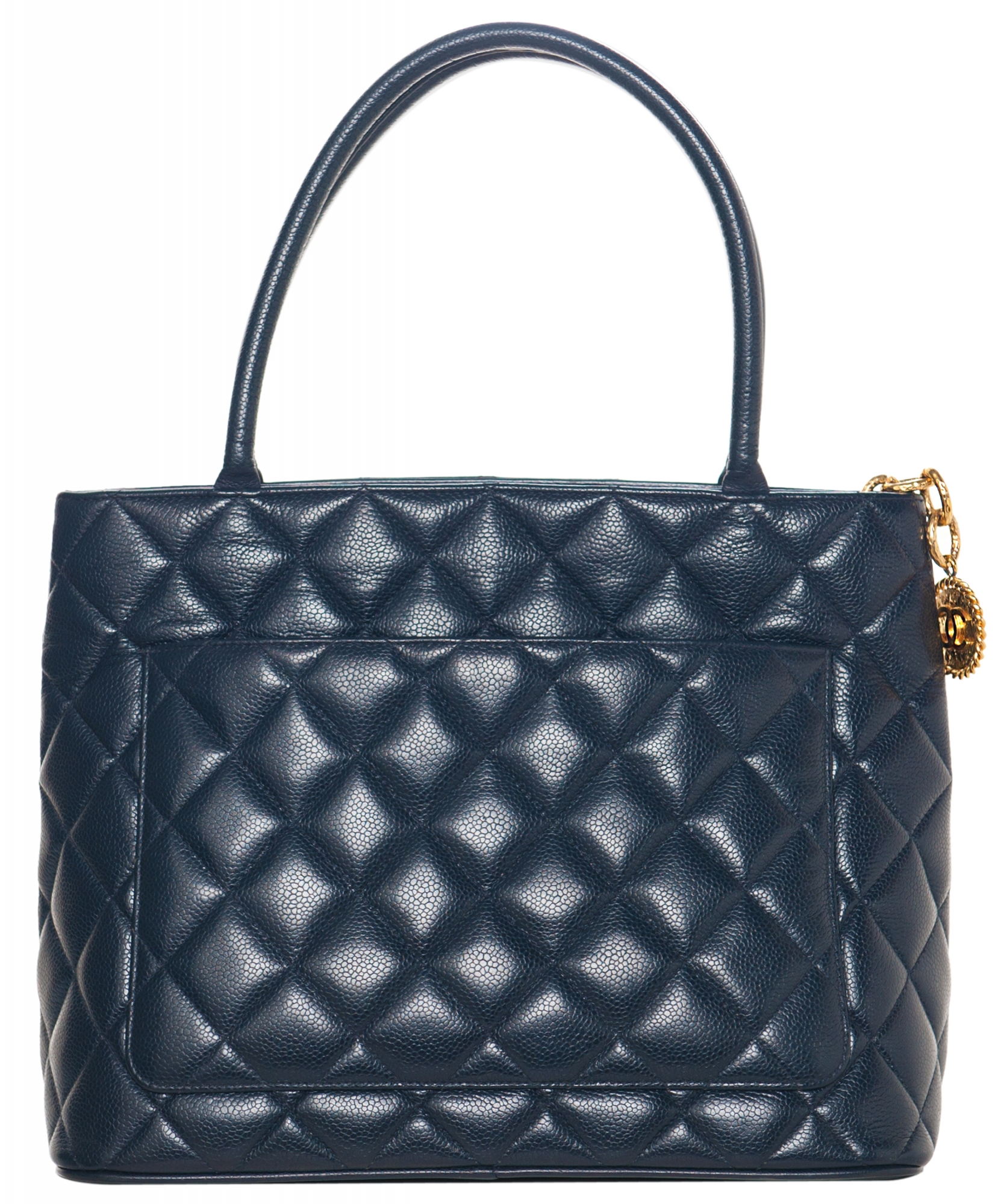 c959c638c9bd Vintage Chanel Navy Blue Caviar Quilted Medallion Tote | La Doyenne