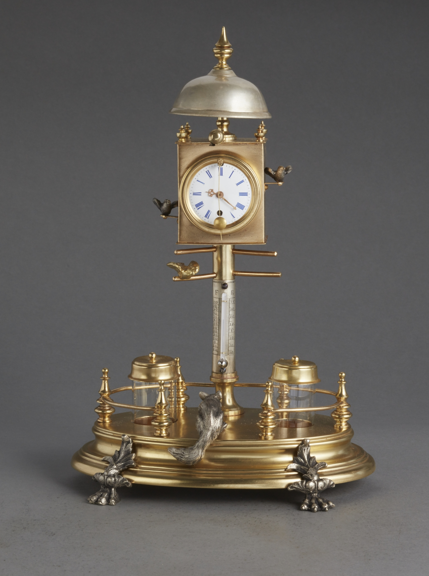 Desk Inkwell With Clock And Ringing Bell Circa 1860