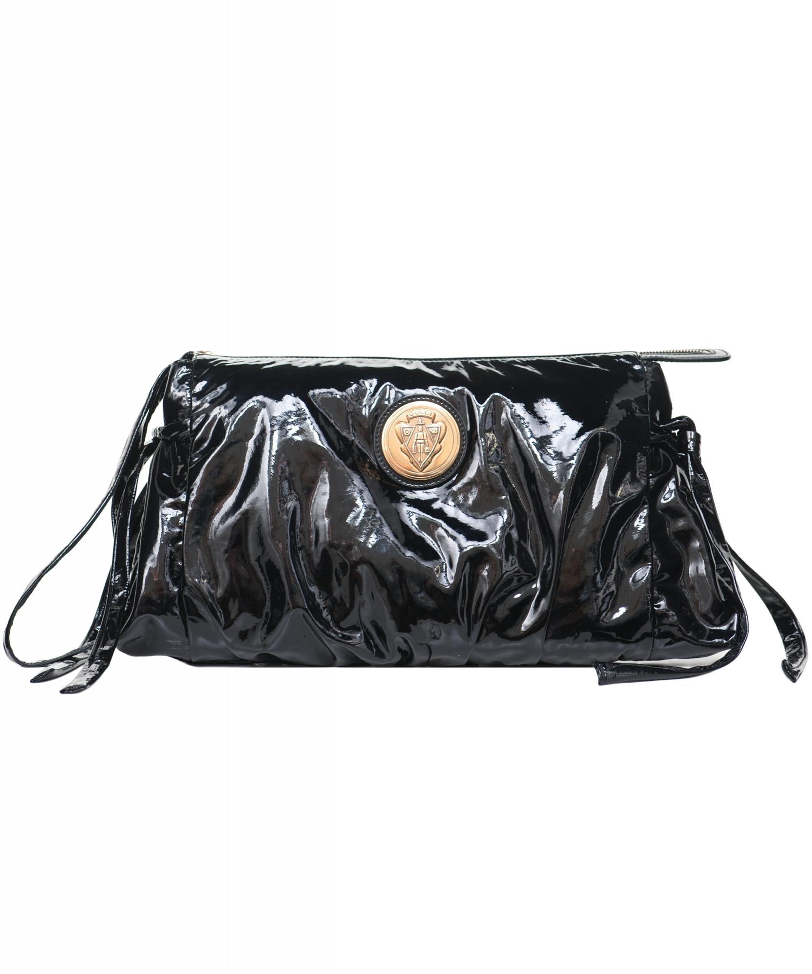 889d4046767 Gucci Black Patent Leather  Hysteria  Clutch