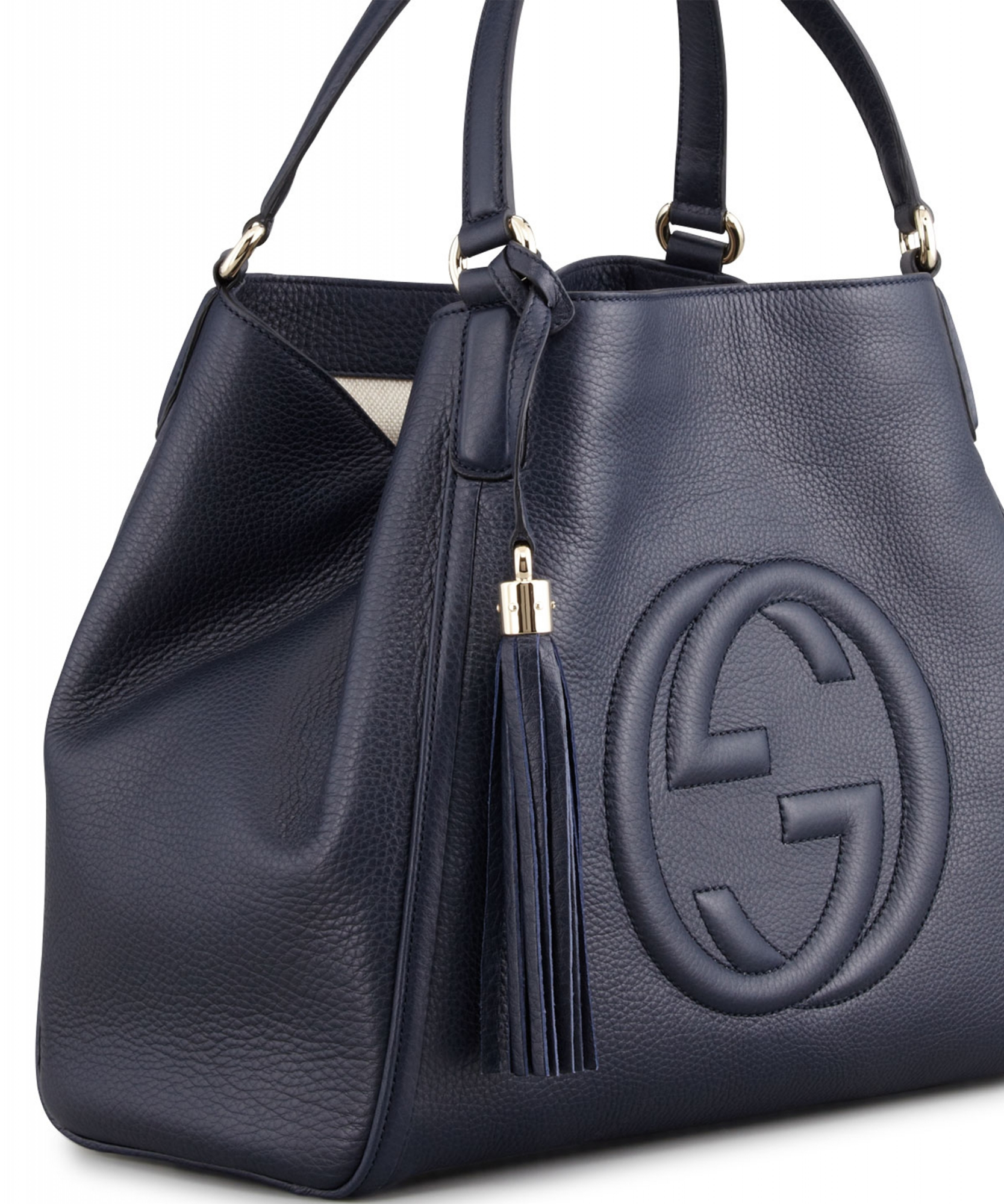 c7859ba71b4 Gucci Navy Blue Soho Leather Shoulder Bag Large