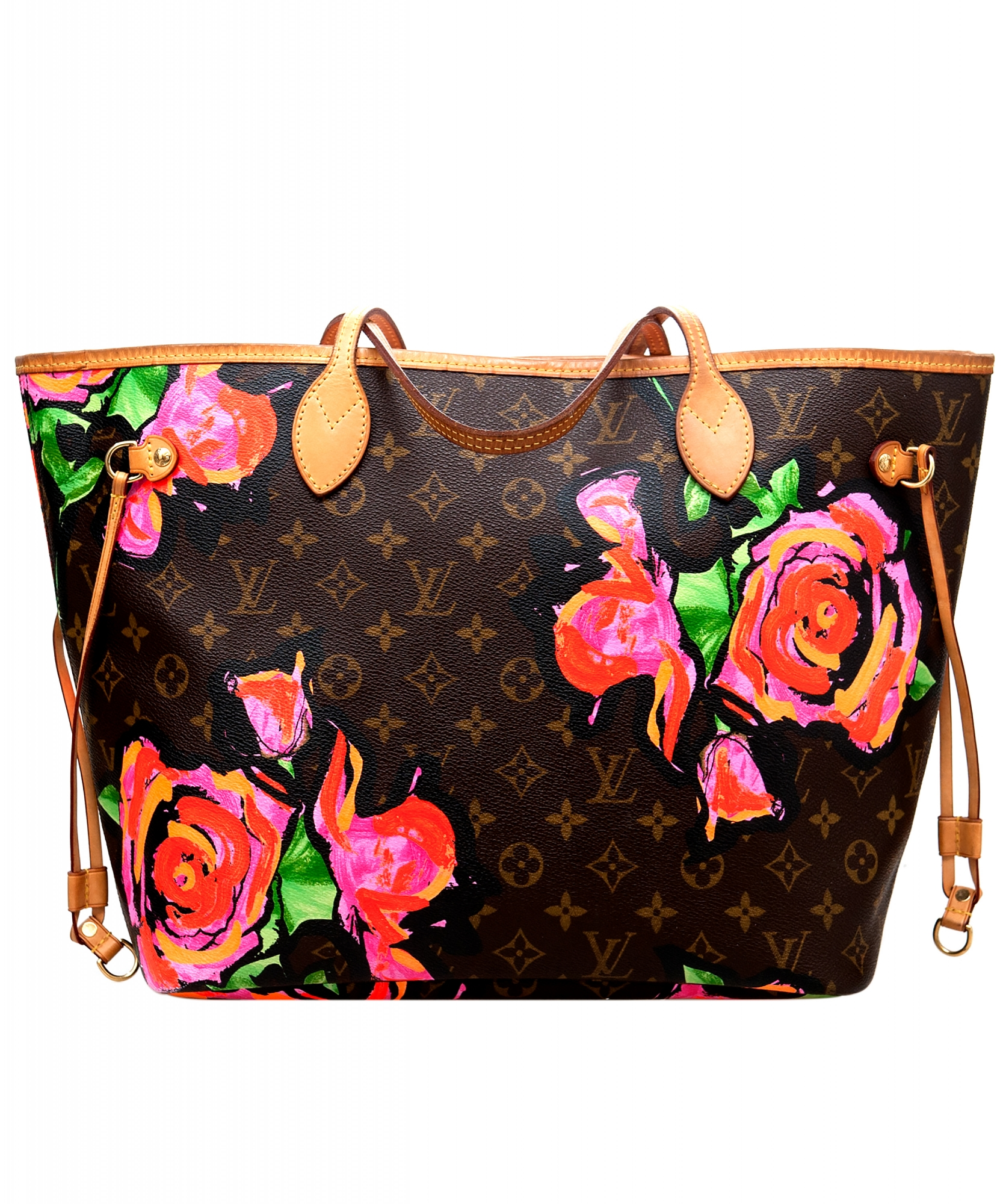 6bc0ded6574a Louis Vuitton Monogram Graffiti Roses Neverfull MM Bag - Limited Edition