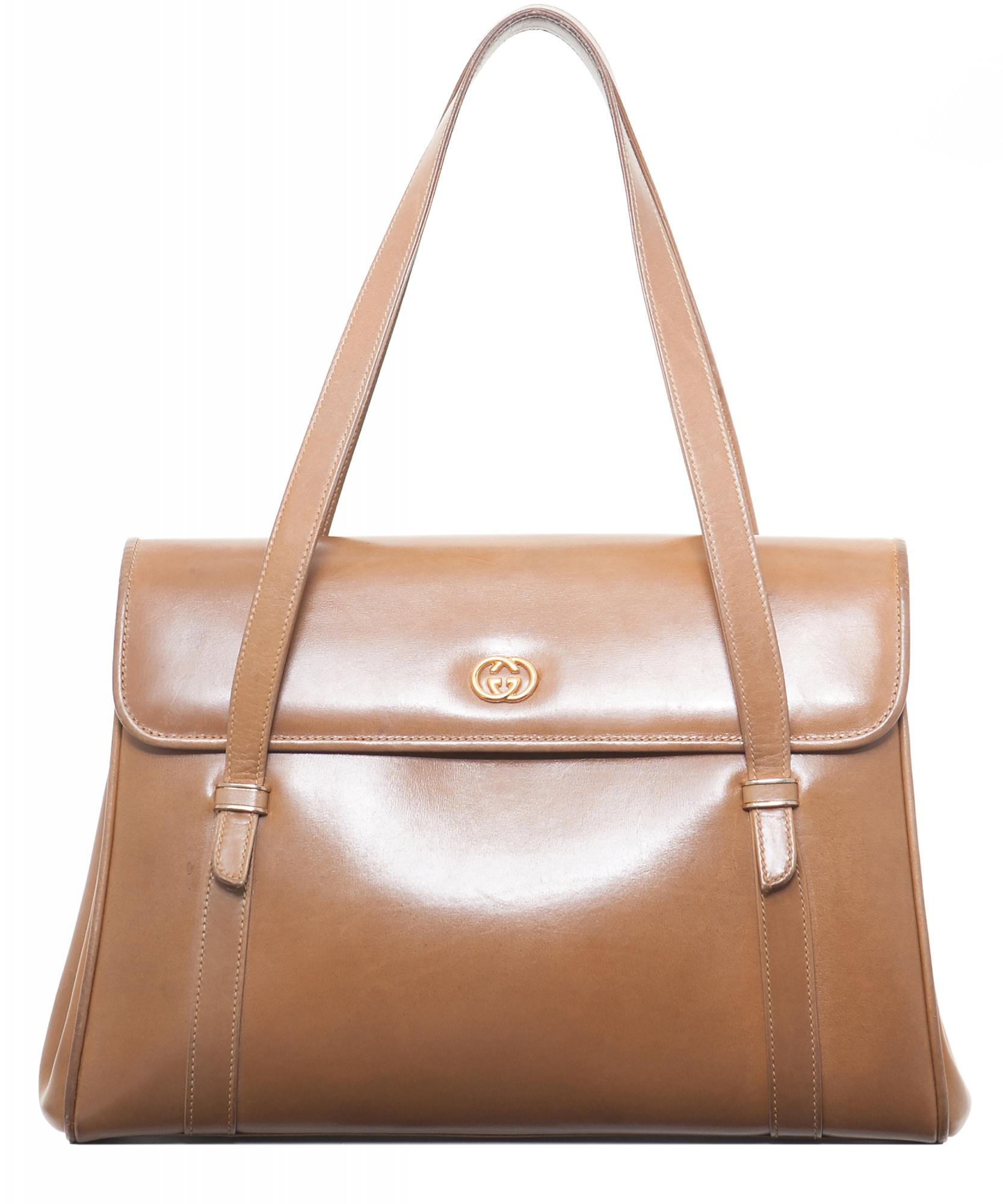 5658ef89f7f Vintage Gucci Brown Leather Shoulder Bag